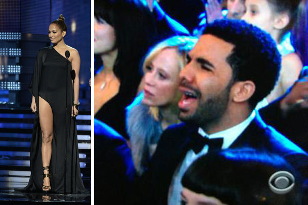 Drake reacting to seeing J-Lo on the stage